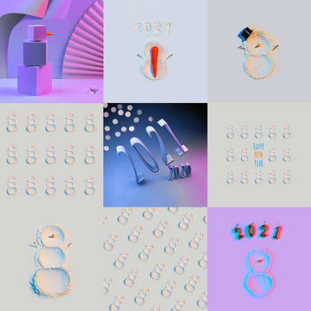 New Years concept, a snowman made of flour with a carrot nom and hands matches, in neon light, pattern, collage, big size 스톡 콘텐츠