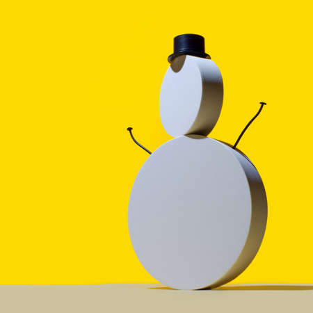 New Year's concept, a snowman of round white podiums and a hat cylinder on a bright yellow background 스톡 콘텐츠