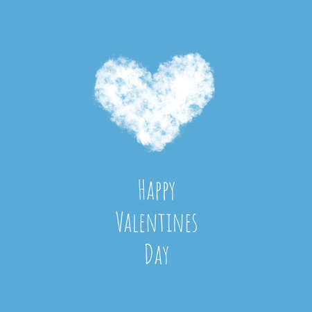 A light fluffy white cloud in the shape of a heart flies across the sky, the concept of Valentines Day.