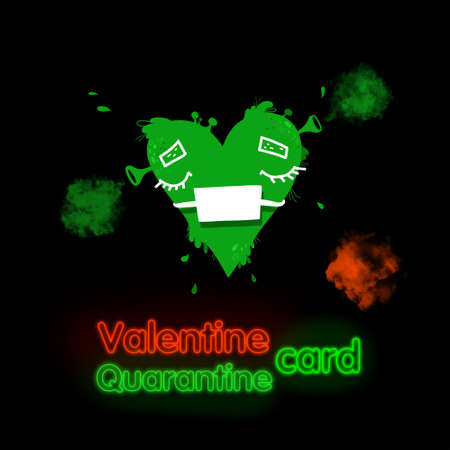 Drawing green heart slime in protective medical mask, valentines day concept. 스톡 콘텐츠