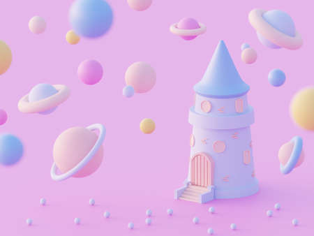 3 d illustration Cartoon Castle Tower in Cosmic galaxy with different planets, futuristic concept on a pink background 스톡 콘텐츠
