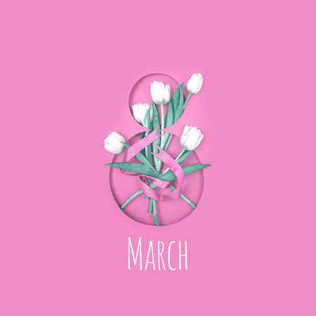 Postcard for The Eighth of March. Five white tulips in number eight. Tied with a ribbon on a pink background. 스톡 콘텐츠