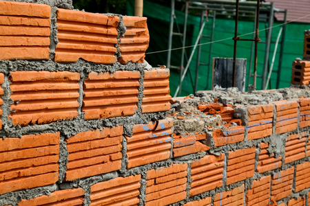 Red Brick wall on a construction site