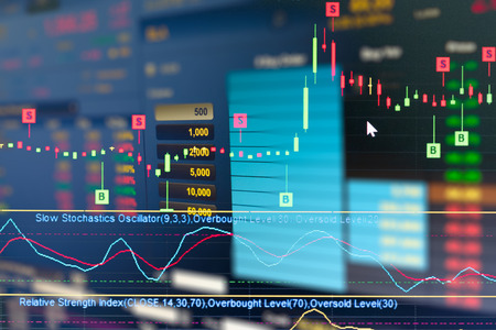 business graph and trade monitor  of Investment in gold trading,Stock market ,Futures market,Oil market