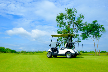 Golf Cart In Fairway Of Golf Course With Fresh Green Gr Field ... Sky Golf Cart on sky candles, sky sunglasses, sky bags, sky wheels, sky games, sky comedy, sky cars, sky lifts,