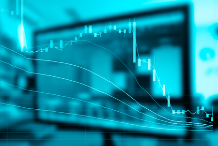 Abstract of stock market chart double exposure,trading bit coin,ico trade Stock Photo