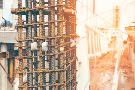 Steel re-bar reinforcement of column construction ,close up