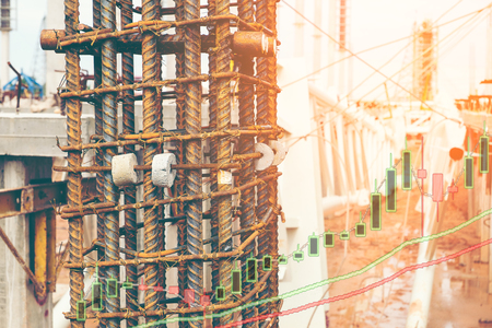Double exposure of steel structure of column and stock graph,business or investment concept Фото со стока