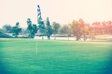 chess flag in golf course ,vintage color