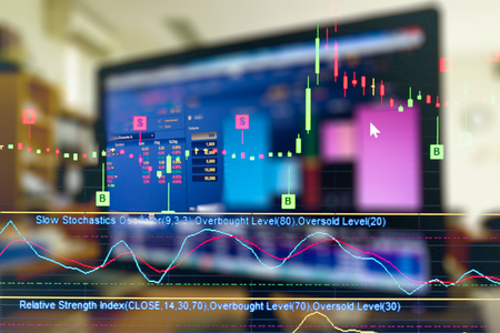 business graph and trade monitor of Investment in bitcoin trading,Stock market ,Futures market,Oil market