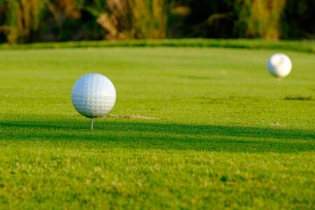 close up of tee off pin in golf course northern Thailand
