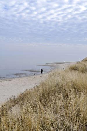 german north sea region: Beach in winter, hike in List on Sylt Stock Photo