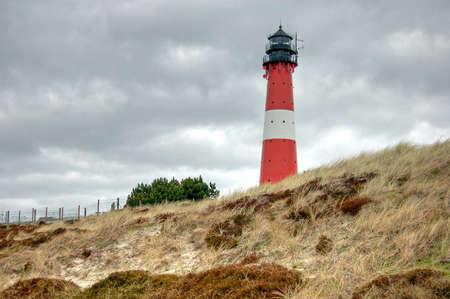 german north sea region: The lighthouse of Hornum on the island Sylt Stock Photo