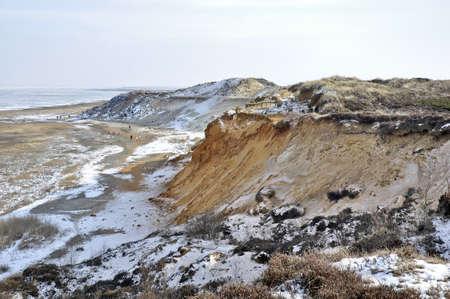 german north sea region: Morsum cliff in winter on Sylt an archaeological sensation