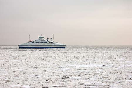 Car ferry in the pack ice photo