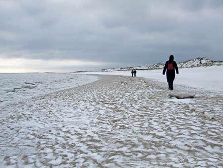german north sea region: Walk on the beach in winter