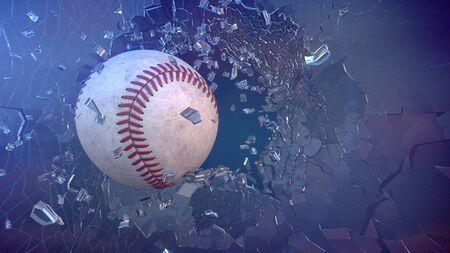 broken through: 3d render baseball through broken glass.