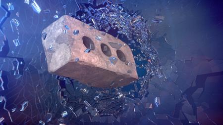 glass brick: Brick shatters glass. 3D render