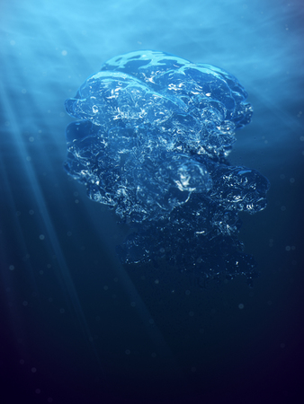 Abstract underwater scene air bubbles and sun ray in deep blue sea Imagens