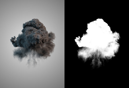 Peligrosa y dramática nube 3D de humo negro después de una explosión con el canal alfa Foto de archivo - 60482653