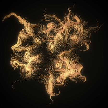 shiny gold: Abstract 3d rendering gold shiny strands