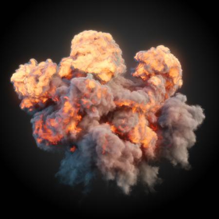 Large explosion with black smoke in dark 3d rendering Imagens