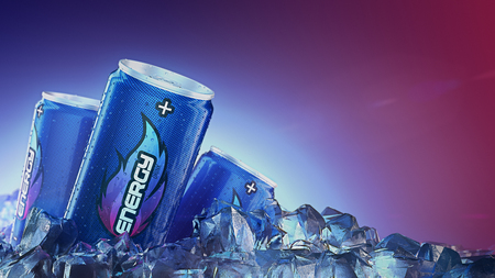 Can of Energy drink pass through Ice Cubes. 3d rendering