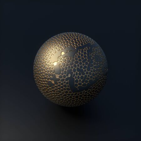 Abstract futuristic sphere with voronoi pattern gold areas. 3d Render Illustration Stock Photo