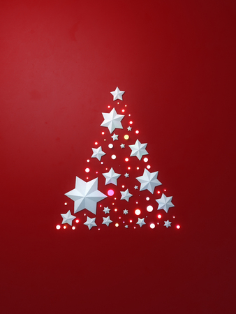 Christmas tree with white stars 3d rendering