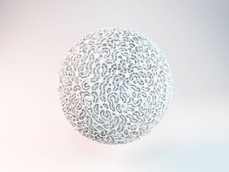interweaving: Abstract futuristic white sphere. 3d rendering
