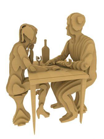 Abstract Folk Art Plywood. Couple having romantic dinner. 3d rendering
