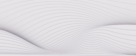 Wave band surface Abstract white background. Digital 3d illustration Banco de Imagens