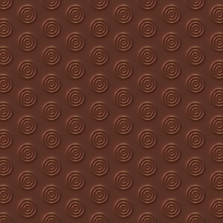 Chocolate circles abstract surface pattern. 3d rendering