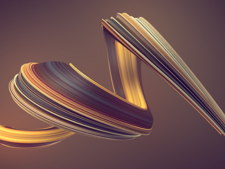 Colored twisted shape. Computer generated abstract geometric 3D render illustration