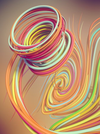 Interlacing abstract colored curves. 3D rendering Stock Photo