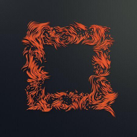 Abstract orange strands pattern on dark plastic background 3D rendering