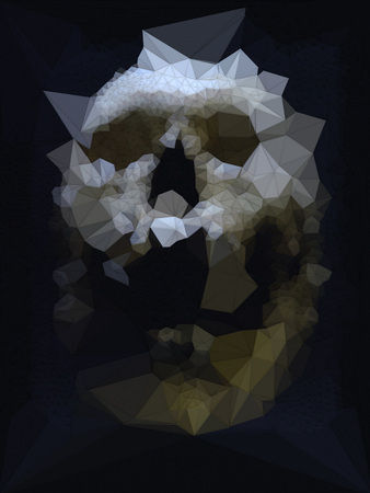 Abstract Colored Low Polygonal Skull 3d Rendering Stock Photo