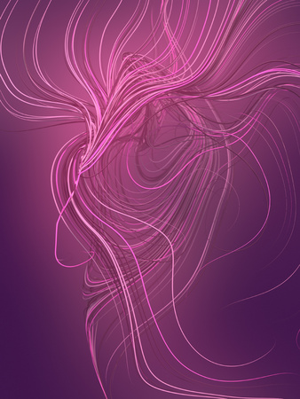 Abstract colored strands pink lines pattern. 3D rendering