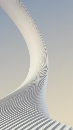 install: White stripe architectural futuristic pattern background. 3d render illustration