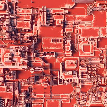 Orange hi-tech futuristic geometric pattern. Abstract 3d illustration Imagens
