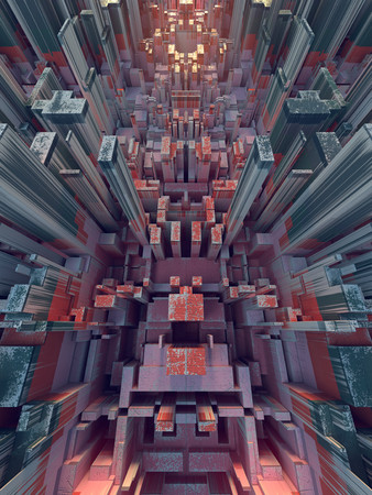 Colored hi-tech futuristic geometric pattern. Abstract urban landscape. 3d illustration Imagens