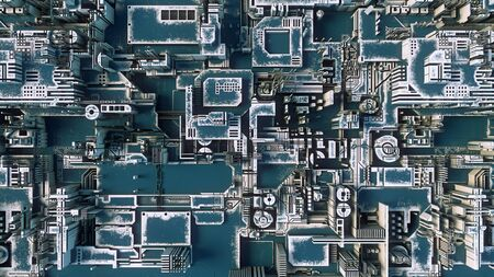 Blue hi-tech futuristic geometric pattern. Abstract 3d illustration Фото со стока