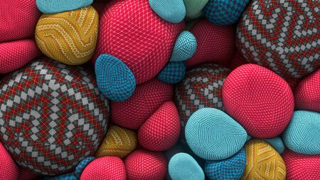 zero gravity: 3D rendering of colored floating spheres with a knitted texture. Abstract composition. Group of spheres levitate in zero gravity Stock Photo