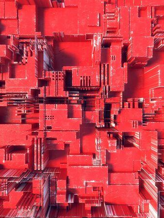 Red hi-tech futuristic geometric pattern. Abstract 3d illustration