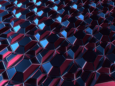 Dark reflective metallic abstract surface pattern. 3d rendering