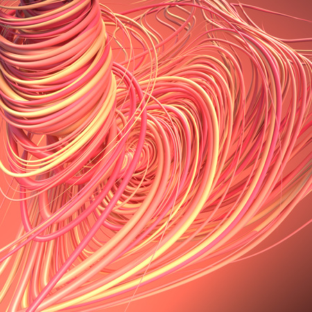 Abstract colored strands red and orange lines pattern. 3D rendering
