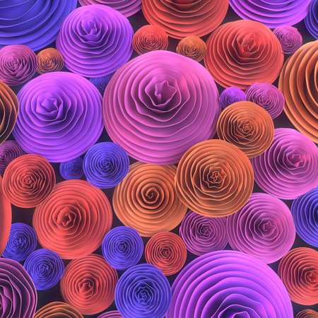 Abstract Illustration of paper-crafted, quilling flowers with different shades of spring colors, symbolizing love, courtship, marriage or Valentines day. 3d rendering