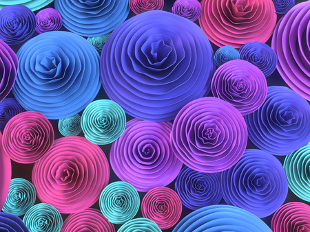 Abstract Illustration of paper-crafted, quilling flowers with different shades of spring colors. 3d rendering 스톡 콘텐츠