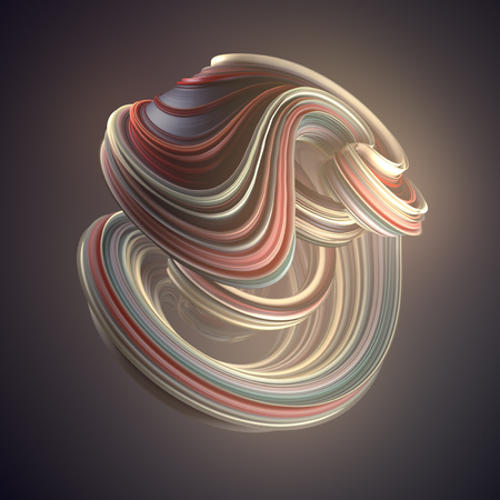 Red and blue colored abstract twisted shape. Computer generated geometric illustration. 3D rendering Banco de Imagens