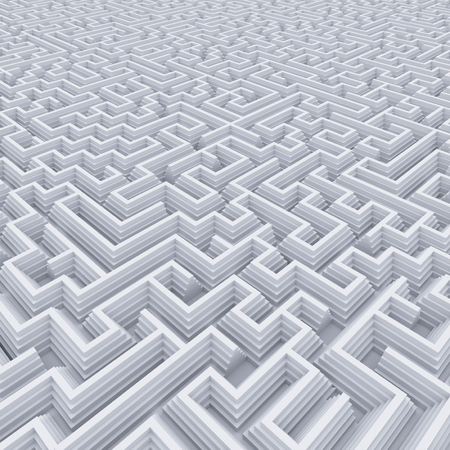 Abstract white labyrinth concept 3d rendering